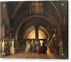 The Inauguration Of Jacques De Molay Into The Order Of Knights Templar In 1295 Oil On Canvas Acrylic Print
