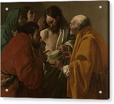 The Incredulity Of Thomas, Hendrick Ter Brugghen Acrylic Print