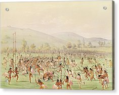 The Indian Ball Game, C.1832 Colour Litho Acrylic Print by George Catlin