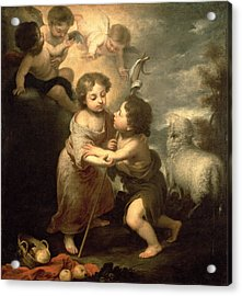 The Infants Christ And John The Baptist Oil On Canvas Acrylic Print