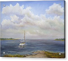 Acrylic Print featuring the painting The Inlet by Katalin Luczay