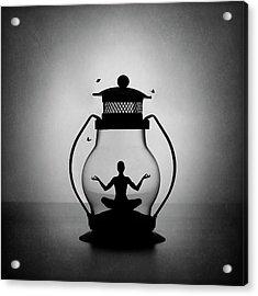 The Inner Light. Meditation. Acrylic Print by Victoria Ivanova