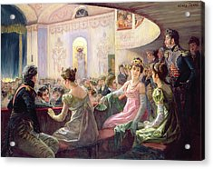 The Interval At The Theatre  Acrylic Print by Charles Henry Tenre