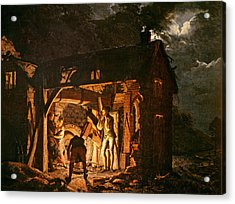 The Iron Forge Viewed From Without, C.1770s Oil On Canvas Acrylic Print
