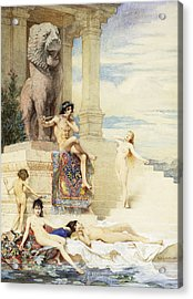 The Ivory Flute Acrylic Print by Guillaume Dubufe