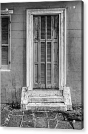 The Jackson House Door In Black And White Acrylic Print