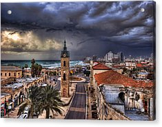 Acrylic Print featuring the photograph the Jaffa old clock tower by Ronsho