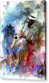 The Jazz Player Acrylic Print by Evie Carrier