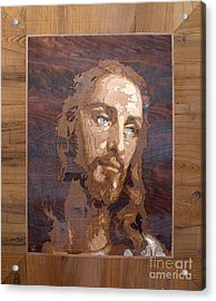 The Jesus Christ Marquetry Wood Work Acrylic Print by Persian Art