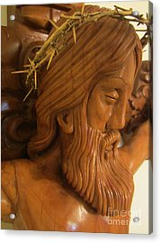 The Jesus Christ Sculpture Wood Work Wood Carving Poplar Wood Great For Church 2 Acrylic Print by Persian Art