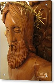 The Jesus Christ Sculpture Wood Work Wood Carving Poplar Wood Great For Church 3 Acrylic Print by Persian Art