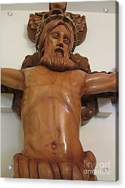 The Jesus Christ Sculpture Wood Work Wood Carving Poplar Wood Great For Church 4 Acrylic Print by Persian Art