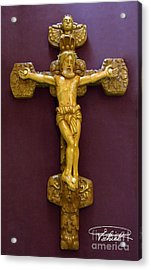 The Jesus Christ Sculpture Wood Work Wood Carving Poplar Wood Great For Church Acrylic Print by Persian Art