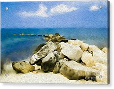 The Jetty At Seven Mile Beach In Grand Cayman Acrylic Print