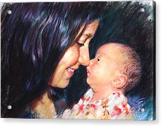 Acrylic Print featuring the drawing The Joy Of A Young Mother by Viola El