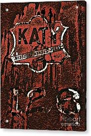 The K A T Y Railroad Sign Acrylic Print by R McLellan