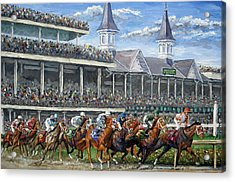 The Kentucky Derby - Churchill Downs Acrylic Print by Mike Rabe