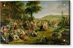 The Kermesse, C.1635-38 Oil On Panel Acrylic Print by Peter Paul Rubens