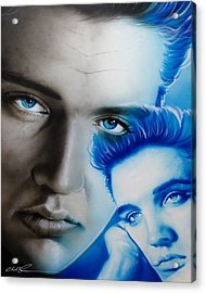 Elvis Presley - ' The King ' Acrylic Print by Christian Chapman Art