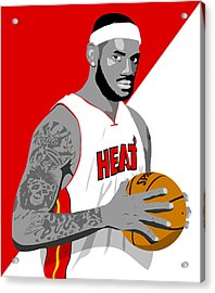 The King Lebron James Acrylic Print by Paul Dunkel