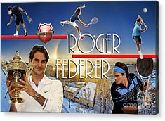The King Roger Federer Acrylic Print by Christopher Finnicum