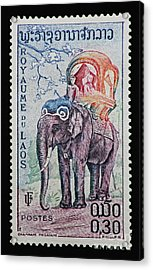 Acrylic Print featuring the photograph The King's Elephant Vintage Postage Stamp Print by Andy Prendy