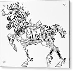 The King's Horse - Zentangle Acrylic Print