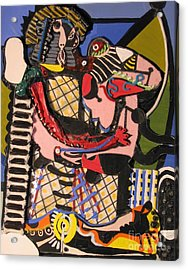 The Kiss Aka The Embrace After Picasso 1925 Acrylic Print by Mack Galixtar