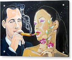 Acrylic Print featuring the painting The Kiss Edge Listen With Music Of The Description Box by Lazaro Hurtado