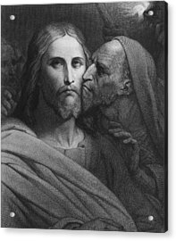The Kiss Of Judas Acrylic Print by Ary Scheffer