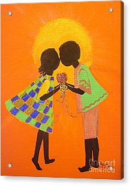 The Kiss - Young Love Series Acrylic Print by Barbara Hayes