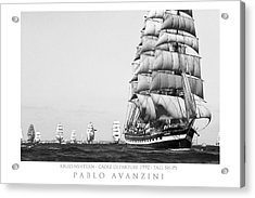 Acrylic Print featuring the photograph The Kruzenshtern Departing The Port Of Cadiz by Pablo Avanzini