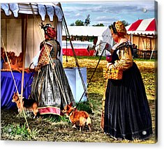 The Ladies And The Corgies Acrylic Print by Julie Dant