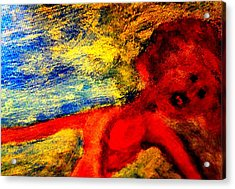 The Lady In Red Is Drifting Away Again  Acrylic Print by Hilde Widerberg