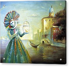 Acrylic Print featuring the painting The Lady With The Cage by Dmitry Spiros
