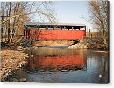Acrylic Print featuring the photograph The Lairdsville Covered Bridge After The Flood by Gene Walls