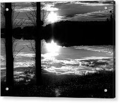The Lake - Black And White Acrylic Print