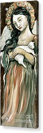 The Lamb Acrylic Print by Carrie Joy Byrnes