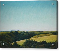 Acrylic Print featuring the pastel The Land by Serena Dawson