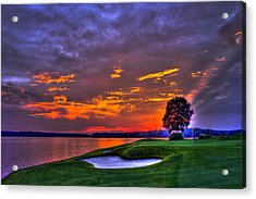 The Landing Golf Sunset On Lake Oconee  Acrylic Print by Reid Callaway