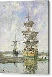 The Large Ship Acrylic Print by Eugene Louis Boudin