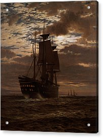 The Last Indian Troopship Hms Malabar Acrylic Print by Charles Parsons Knight