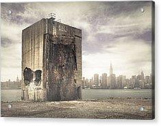 Apocalypse Brooklyn Waterfront - Brooklyn Ruins And New York Skyline Acrylic Print by Gary Heller