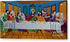 The Last Supper Hand Embroidery Acrylic Print by To-Tam Gerwe