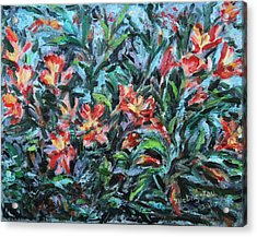 Acrylic Print featuring the painting The Late Bloomers by Xueling Zou