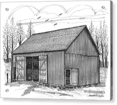 Acrylic Print featuring the drawing The Lawrence Barn by Richard Wambach
