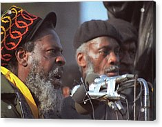 The Leaders Of A Local Antyracist Movement While Performing Their Speach During Toronto Riots 1992 Acrylic Print by T Monticello