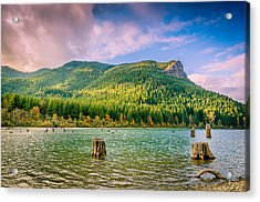 The Ledge Above The Lake Acrylic Print by Brian Xavier