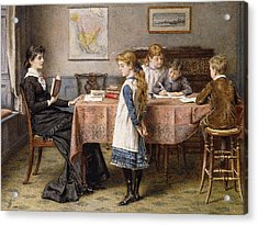 The Lesson Acrylic Print by  George Goodwin Kilburne