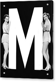 The Letter m  And Two Women Acrylic Print
